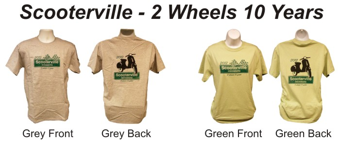 Scooterville Tenth Anniversary T-Shirt 2 wheels 10 years