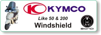 Biondi windhsield for Kymco Like 50 and 200 scooters